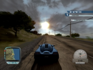Putting the Koenigsegg to the test. Yes, we really are going that fast.