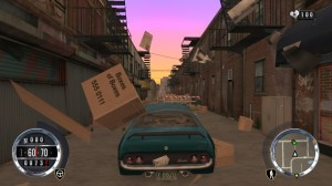 It just wouldn't be a Driver game without the opportunity to drive through some discarded cardboard boxes in an alleyway.