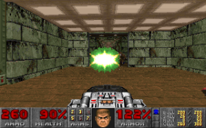 Doom's biggest gun – the BFG 9000 – being tested out on a wall. (Maybe there's a baddie under there, I don't know. Let's say there is.)