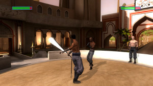 Furiously mashing the strong attack button in a fight scene with Kian.