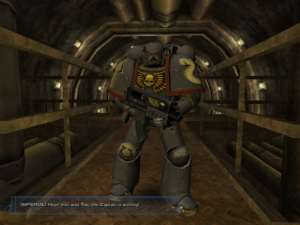 Here's a Space Marine, fortunately not trying to kill you