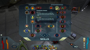 The skills screen. Some require a certain level of humanity; most require cybernetic enhancements.