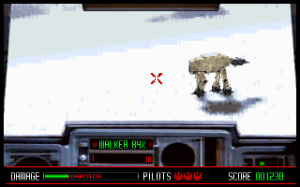 The colour of the AT-AT armour has been changed to show you where you need to hit it – making it look a bit like a giant doggy with its winter jacket on.